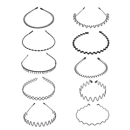 10 piezas de banda para el cabello de metal, diadema unisex para mujeres,hombres, negro,estilo múltiple, con ondas de primavera,bandas para el cabello, accesorios para el cabello,diadema para mujeres