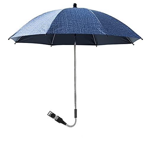 Trafagala ベビーカー傘 傘スタンド UVプロテクション 傘固定 自転車傘立て 8本絶縁骨 防錆 360°回転 熱中症対策 完全遮光 晴雨兼用(ネイビーブルー,75x80cm)