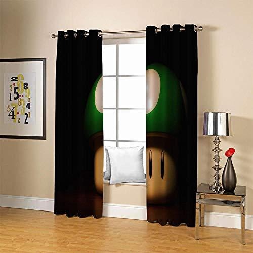 carmaxs Cortinas Modernas Dormitorio - Térmicas Aislantes Frío Calor Ruido Luz Rayos para Salón Oficina Dormitorio, 2 Panel - Impresión digital 3D - Verde juego dibujos animados seta 183x160 cm