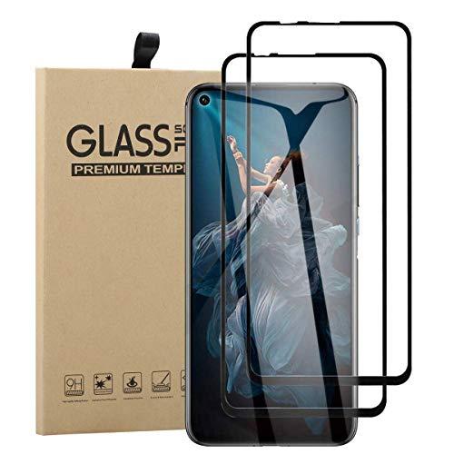 TLING 2 Stück Bildschirmschutzfolie Kompatibel mit Huawei Nova 5T / Honor 20, Voll Abdeckung Schutzfolie Panzerglas, Schwarz