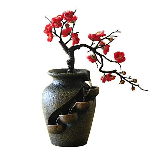 Fuente de meditación Fuentes de mesa de mesa creativa casa jardín simulación planta florero artesanal resina cascada interior escritorio de escritorio fluyendo agua paisaje ornamento Fuentes de interi