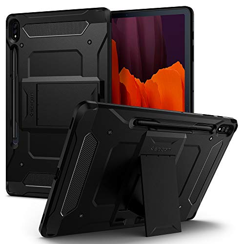 Spigen Tough Armor Pro Compatibile con Samsung Galaxy Tab S7 Plus Cover Custodia con S Pen Holder - Nero