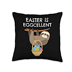 Multicolor Sloth Easter Throw Pillow