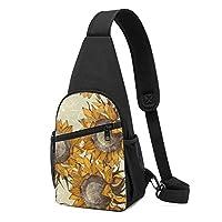 ワンショルダーバッグ メンズ 斜めがけ胸バッグ ボディー肩掛けバッグ 小型手提げバッグ 出張 通勤 通学用 ト ひまわり 優雅 花