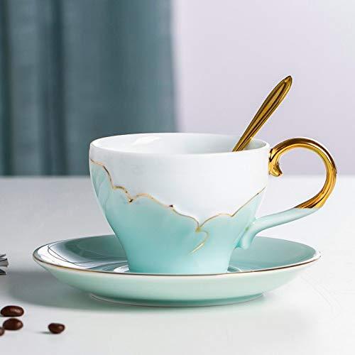 HRDZ Taza y Plato de cerámica para café, Regalo para el hogar, Simple té de la Tarde, Taza de té de Camelia con Cuchara