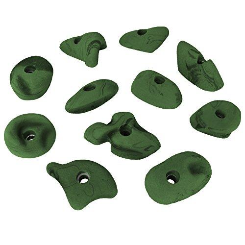 ALPIDEX 11 Klettergriffe Größe L und M - geeignet für Kinder, Anfänger Aber auch für Fortgeschrittene, Farbe:grün-meliert