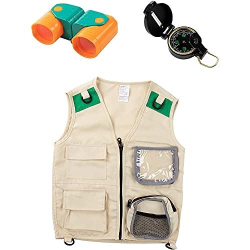 Blue Panda Kid Explorer Vest Kit - 3-Piece Outdoor Exploration Set Includes Cargo Vest, Compass, and Binoculars for Kids' Pretend Play or Nature Safari Halloween Party Dress-Up Costume