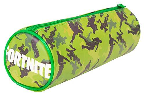 Fortnite Estuche Escolar Estuches Escolares para Niños, Adolescentes | Estuche para Lápices Forma de Barril en Azul o Verde | Regalo Niño Producto Oficial (Verde)