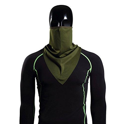 JUSTDOLIFE Comfortabele Effen Kleur Ademende Motorfiets Skiën Outdoor Sport Flexibele Gezicht Hals Gaiter Hoofddeksels Sjaal Multi kleuren (Groen)