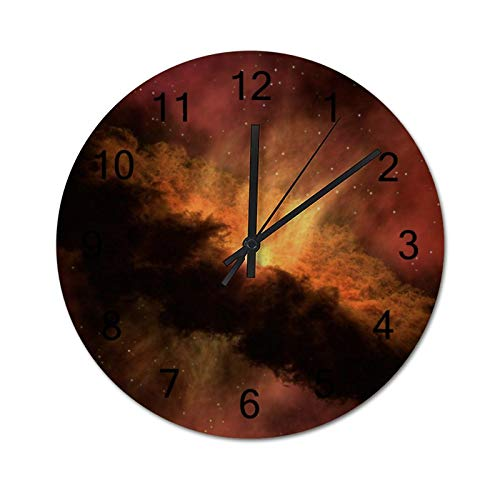 happygoluck1y Reloj de pared moderno de madera con ilustración de galaxia roja y naranja para sala de estar, dormitorio, silencioso, rústico, de 30,48 cm para paredes
