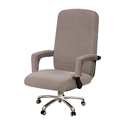 BellaHills Durable Soft High Stretch Jacquard 1 Piece Recliner Cover Armchair Slipcover Taupe Couch Covers Lycra Jacquard Furniture Protector Machine Washable Spandex Sofa Covers, Office Chair