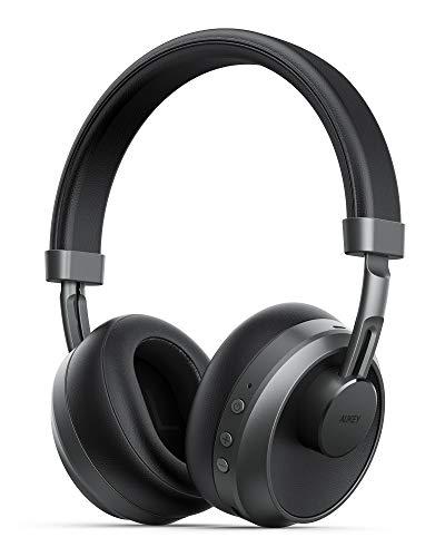 AUKEY Casque Bluetooth 5 sans Fil, Type-C Audio Réduction de Bruit Over-Ear avec Micro Intégré, 25H Casque Audio Stéréo Hi-FI Basse et Filaire Confortable Cache Oreilles avec PC, Smartphones, TV