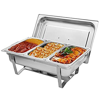 ROVSUN 8 Quart Chafing Dish Stainless Steel Catering Serve Chafer Restaurant Food Warmer Rectangular Buffet Stove with 3 1/3 Size Food Pans and Foldable Frame for Party  1 Pack