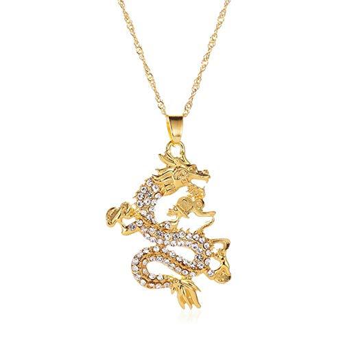 FURUN Dragon Necklace Animal Zirconia Rhinestone Pendant Necklace for Women Men Mascot Ornaments Lucky Zodiac Symbol Gold Color Sweater Chain Domineering Punk Jewelry Accessories