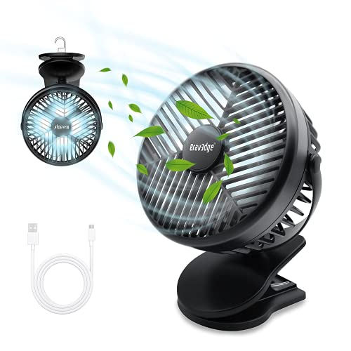 Camping Fan, Bravedge Desk Fan, 3-in-1 Portable Fan with 10000mAh Power Bank & 12 LED Light, Flexible Rotatable Clip On Fan with 3 Speeds for Car Seat Crib Bike Treadmill Camping Home Office Travel