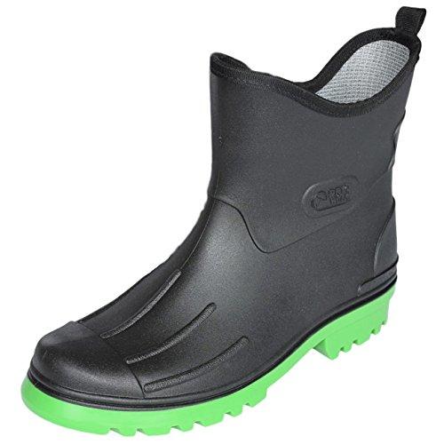Bockstiegel Herren Jungen Gummistiefel Peter aus Polyvinylchorid (PVC) Regenstiefel Stiefelette, Größe:43 EU, Farbe:schwarz/hellgrün