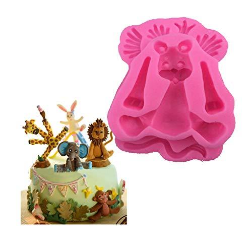 SEVENHOPE 1 Stück 3D Silikon Fondant Mold Cartoon Lion Tier Cookie Keks Cutter Kuchenform Backenwerkzeuge (Rosa)