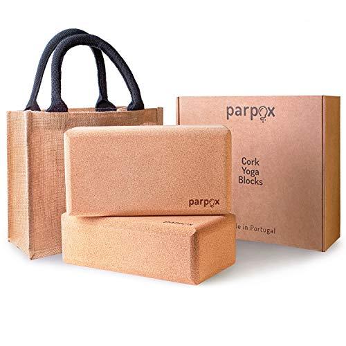 Parpox Premium Yoga Block Kork Set | 100% Natürliches und Nachhaltiges Korkmaterial | Mit Lagerung und Tragetasche | Perfekt als Dehnhilfe, Pilates & für alle Arten von Yoga 2er Set