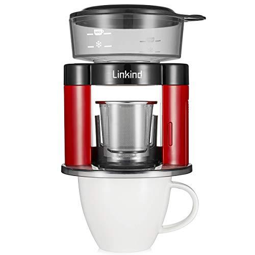 Linkind Pour Over Rotierter Kaffeemaschine, Automatischer Kaffeefilter, Tragbar Dauerfilter aus Edelstahl, Rot