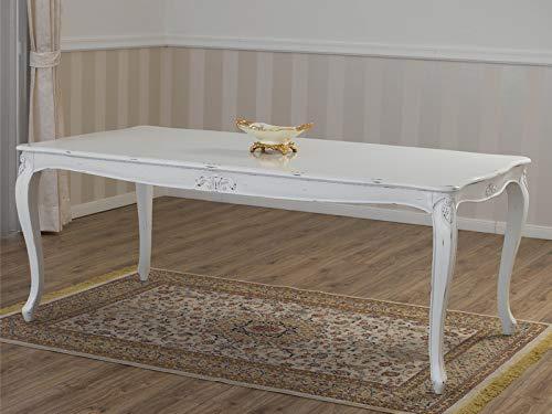 SIMONE GUARRACINO LUXURY DESIGN Tavolo Charlotte Stile Shabby Chic Rettangolare Bianco Anticato cm 205 x 105