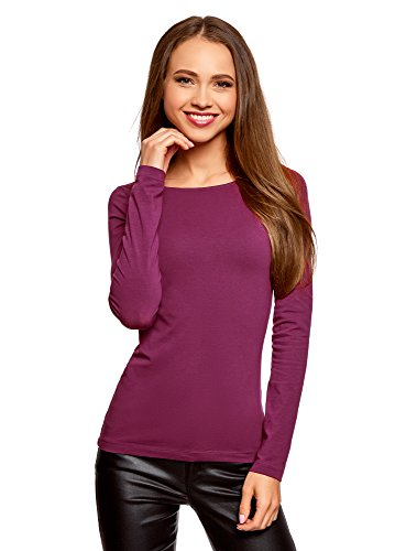 oodji Collection Mujer Camiseta de Manga Larga, Morado, ES 36 / XS