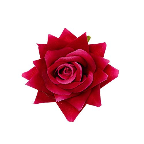 Yazilind Vintage Künstliche Rose Blume Haarspange Bankett Kopfschmuck Hochzeit Brautjungfer Haarschmuck Rose Rot