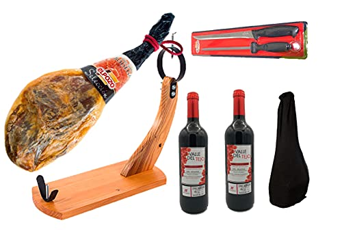 Lote Jamón Bodega El Pozo + jamonero +Cuchillo y Chaira + Funda de Algodón + 2 Botellas Vino Tinto...
