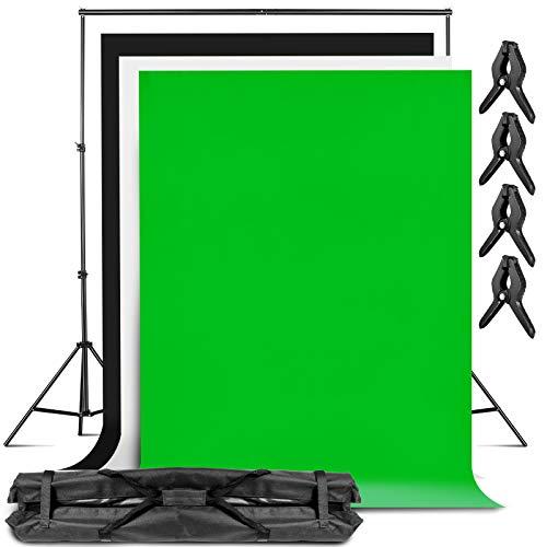amzdeal 3m×2.3m Supporto per Fondale 3pcs 2m × 3m Sfondi CotoneSfondo (Bianco, Nero, Verde) per Foto, Fondale Fotografico Kit, Fotografia di Prodotti e Ripresa Video, Fondali per Foto e Ritratto
