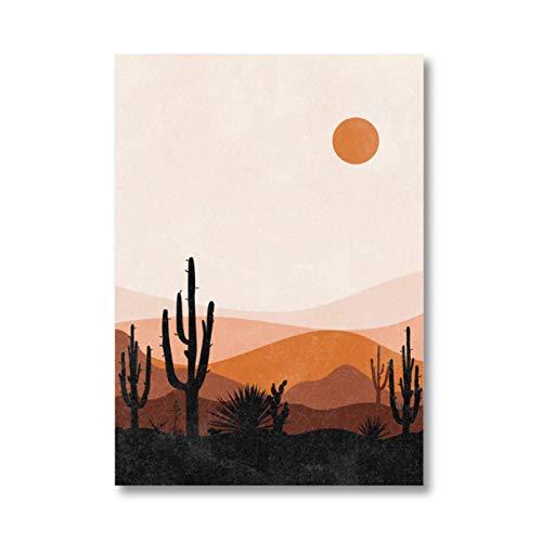 Tbdiberc Cactus Desert Mountain Landscape Drucke Mid CenturyWandkunstBild Burnt Orange Boho Art Leinwand Malerei für Wohnzimmer Dekor-50x70cmx1 No Frame
