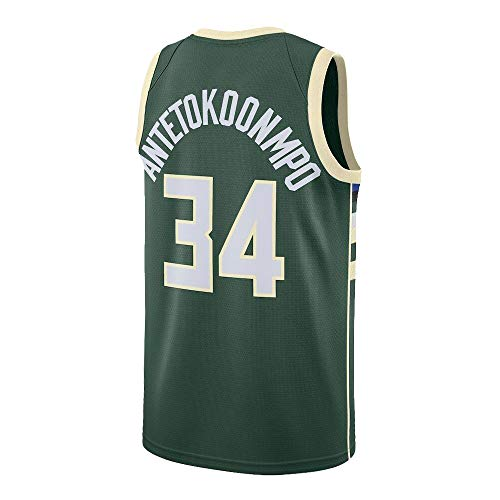 Gkgdko Mens Giannis Jerseys Sports Adult 34 Basketball Shirts Athletics (X-Large) Green