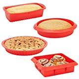 Red Silicone Bakeware 4 Piece Baking Set with Square Brownie Pan, Bread Loaf, Round Cake and Pie Pans (Nonstick)