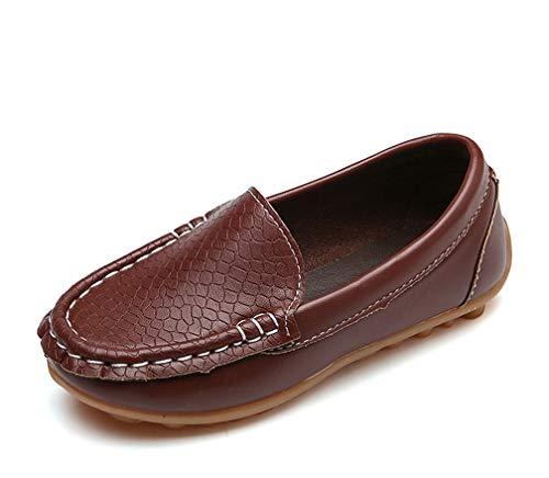 Vorgelen Unisex-Kinder Mokassins Weiches Leder Halbschuhe Jungen Mädchen rutschfest Loafers Slipper Flache Lauflernschuhe Bootsschuhe Oxfords/Braun 35 EU=Herstellergröße: 36