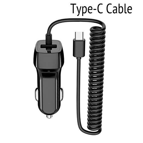 Superior ZRL® USB Typ c Auto Ladegerät mit einziehbarem Coiled USB Typ c Kabel für Samsung Galaxy S8/S8 Plus, Moto Z Force, OnePlus 3/4/5, Nexus 4P und mehr