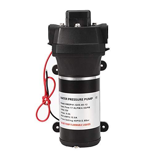 EBTOOLS Membranpumpe, Membranwasserdruckpumpe Elektrisches Wasser Hochdruck-Ansaugautomotor Wasserpumpen 4.5GPM 40PSI RV Schiff 12V für Boot/Marine