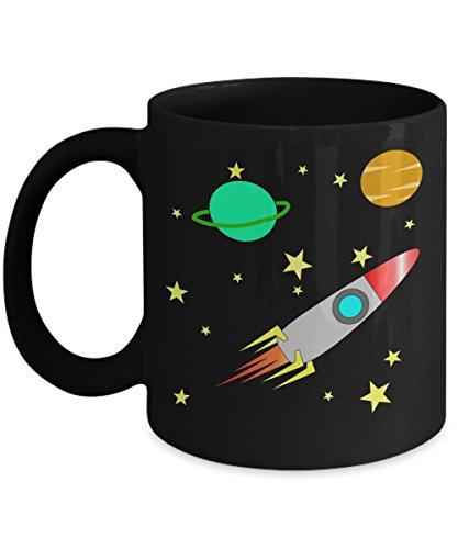ROCKET GIFT CERAMIC MUG, Children Hot Chocolate Mug, Toddler Space Mug, Preschool Mugs, Gifts for Kids Birthday Christmas and Hanukkah
