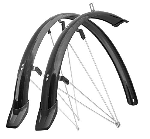 Fahrrad Schutzblech Set 28 Zoll (700C) MTB/Trekking, 48mm breit aus Kunststoff mit Sicherheitsstrebenbefestigung, schwarz