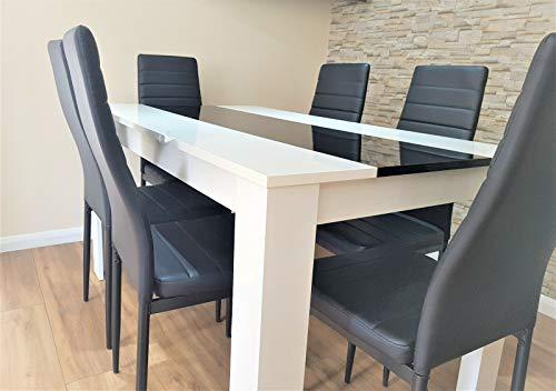 KOSY KOALA Mesa de comedor de madera de alto brillo y 6 sillas negras de cocina mesa de comedor (mesa de madera y 6 sillas)