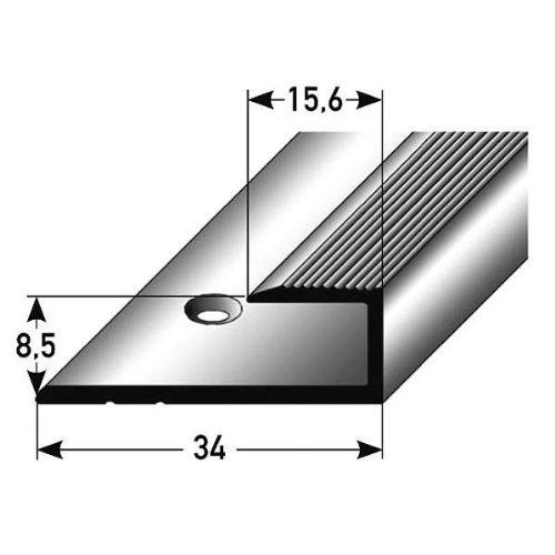 Einschubprofil für Laminat, 8,5 mm Einfasshöhe, Aluminium eloxiert, gebohrt