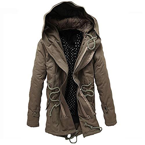 Youthup heren winterjas met capuchon en hoogwaardige materiaalkwaliteit warm lange jas met katoen voor de winter