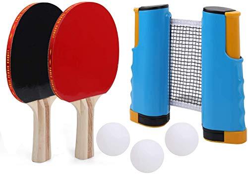 Table Tennis Bat, Ping Pong Palla Set, Portatile allungabile Ping Pong Gioco Interni Esterni - 2 Pipistrelli, Regolabile Net & 3 Balls - Ogni Tabella