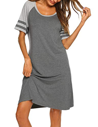 Hotouch Cotton Nightdress Women's Short Sleeve Sleepwear Sleep Shirt Nightgowns Grey L