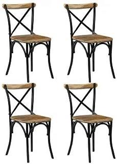 Cikonielf Juego de 4 sillas de comedor de madera maciza de mango con diseño de cruz 51 x 52 x 84 cm. Diseño del respaldo abierto y cruzado, totalmente hecho a mano