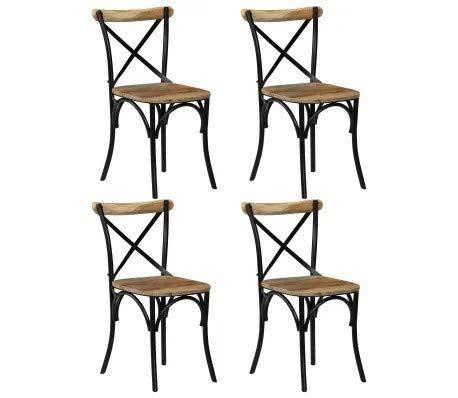 Ausla Sillas de comedor de cocina, juego de 4 unidades, color negro, marco de acero de madera de mango, 51 x 52 x 84 cm