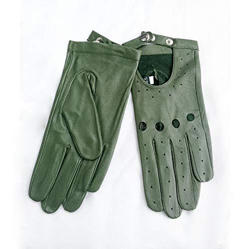 Dgtyui Guanti da donna monopetto sezione sottile moda rivetto cava stile primavera ed estate guida guanti da pilota - Verde X 8 1/2