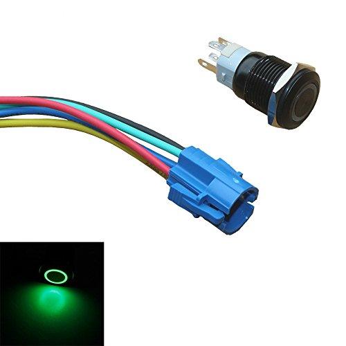 Mintice boîtier noir 19mm symbole de puissance vert LED lumière Oeil d'ange 12V bouton poussoir voiture interrupteur à bascule en métal Prise de courant