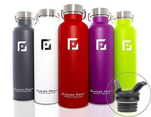 Glacier Point Vacuum Insulated Stainless Steel Water Bottle 25oz|17oz Double Walled Construction Premium Powder Coat Two Lids (Purple, 25 OZ)