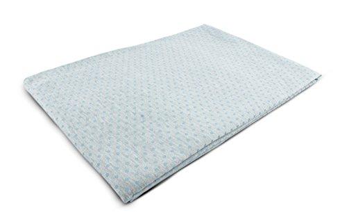 1buy3, tessuto in jersey a fantasia, al metro, 50 x 80 cm, 50 x 160 cm, 100 x 160 cm, 92% cotone, 8% elastan, diversi colori disponibili, cotone, Motivo: pois (blu neonato) su grigio., 50cm x 160cm