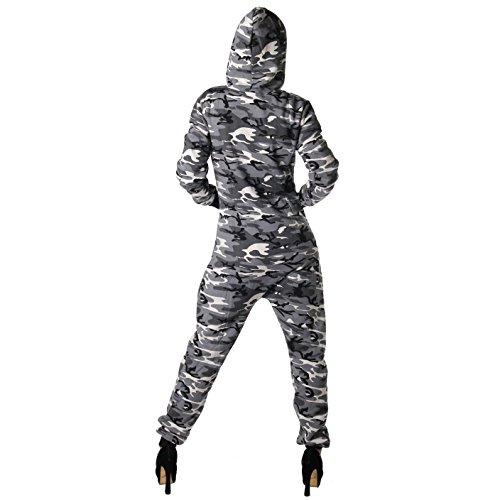Jumpsuit Overall in Camouflage Farben in Sweatstoff für Frauen (Grau) - 3