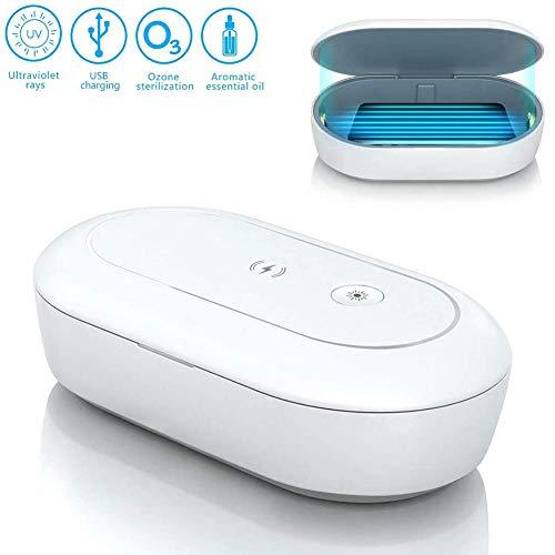 Rong-- Draagbare mobiele telefoon Sterilizer Box UV Smartphone Cleaner met draadloze oplader en Aromatherapie Functie voor tandenborstel Sieraden Horloges