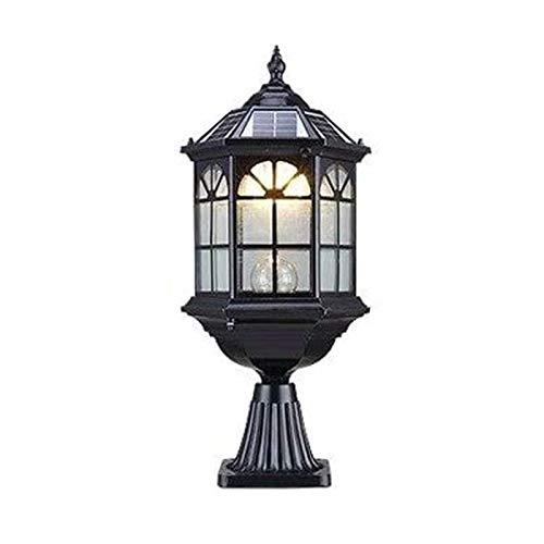 Pilar aire libre poste ligero Negro Oro del metal del color en el estilo, los bulbos excluido, E27 95W 230V [Clase energética A] (Color : Black)